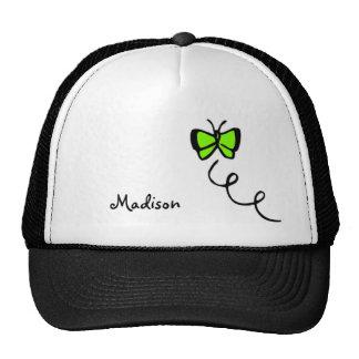 Mariposa verde chartreuse, de neón gorras