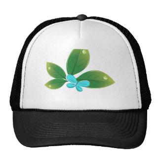 Mariposa verde de la hoja gorros
