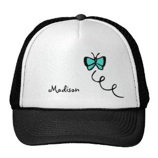 Mariposa verde de la turquesa gorras de camionero