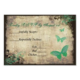 Mariposa verde del vintage que casa la tarjeta de invitación 8,9 x 12,7 cm