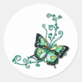 mariposa verde pegatina redonda
