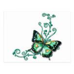mariposa verde postal