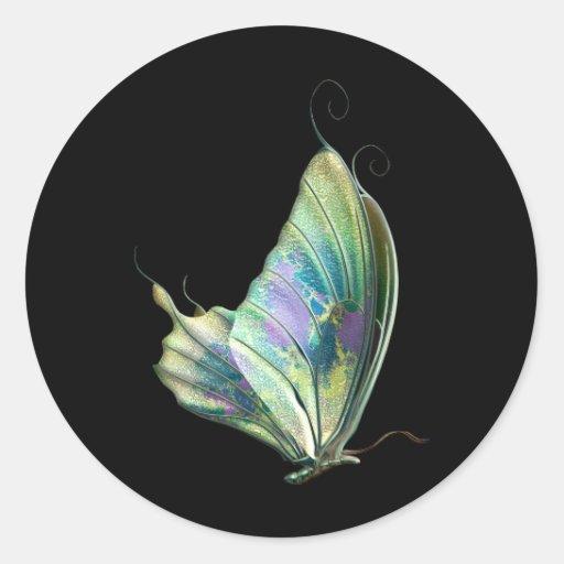 Mariposa verde púrpura azul pegatina redonda