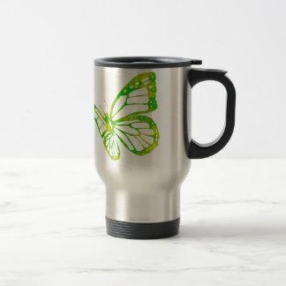 Mariposa verde taza de viaje
