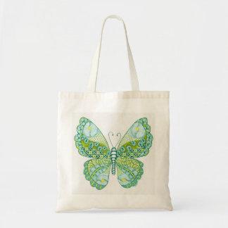 Mariposa verde y amarilla bolsa tela barata