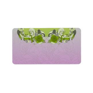 Mariposa verdosa elegante etiquetas de dirección