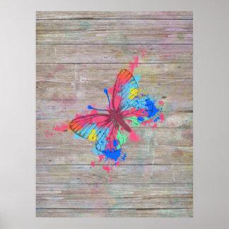 Mariposa vibrante linda fresca del vintage de los  impresiones