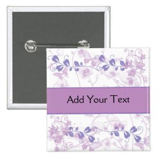 Mariposa Vision en púrpura de la lila Pin Cuadrada 5 Cm