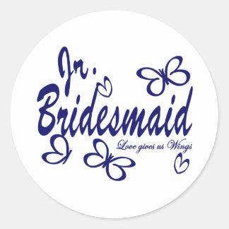 Mariposa Wedding/Jr.Bridesmaid Pegatina Redonda