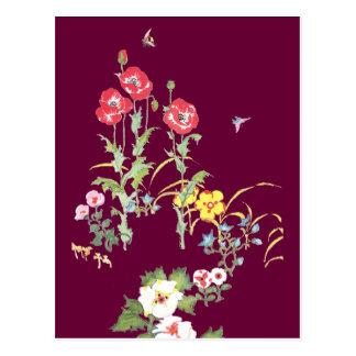 Mariposa y abeja en el jardín de la amapola tarjeta postal