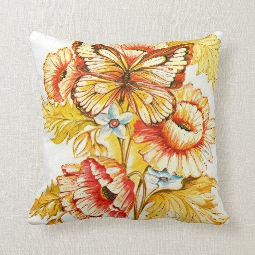 Mariposa y amapolas del vintage almohadas