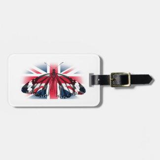 Mariposa y bandera de Reino Unido Etiquetas De Equipaje