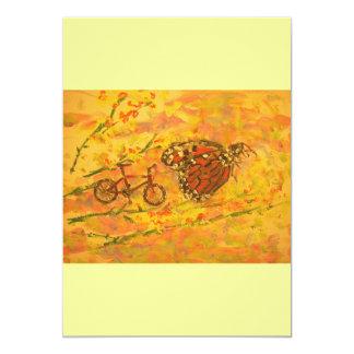 """mariposa y bicicleta de monarca invitación 5"""" x 7"""""""