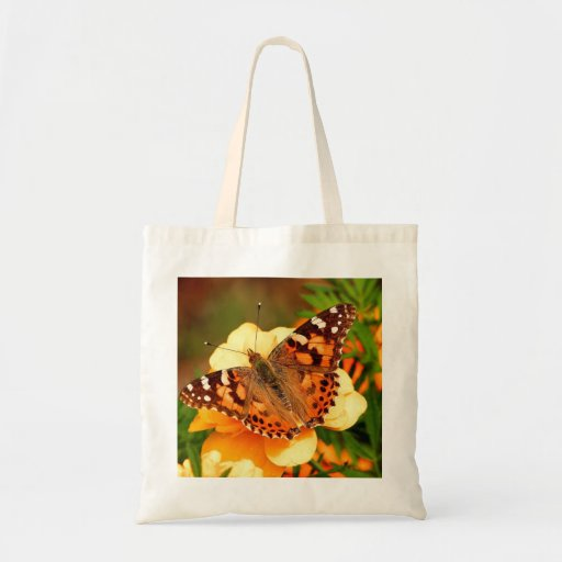 Mariposa y bolso amarillo de las flores bolsa tela barata