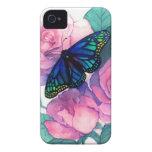 Mariposa y caja color de rosa de Iphone Case-Mate iPhone 4 Carcasa