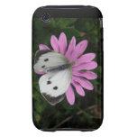 Mariposa y caso rosado del iPhone 3 de la flor Tough iPhone 3 Protector