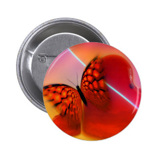 Mariposa y corazones pin redondo de 2 pulgadas