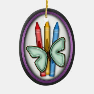 Mariposa y creyones - regalo para el ornamento del adorno navideño ovalado de cerámica