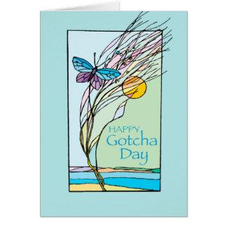 Mariposa y día de Sun Gotcha, adopción, trullo Tarjeta De Felicitación