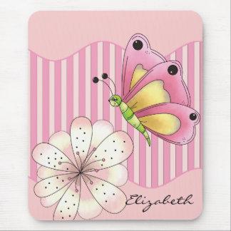 Mariposa y flor de cerezo tapete de ratón