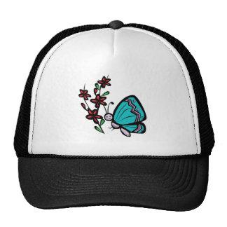 mariposa y flores azules lindas gorras de camionero