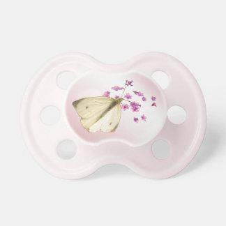 Mariposa y flores chupete de bebé