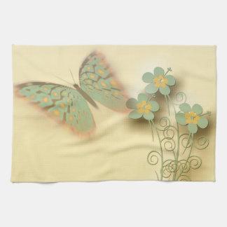 Mariposa y flores de lujo toallas