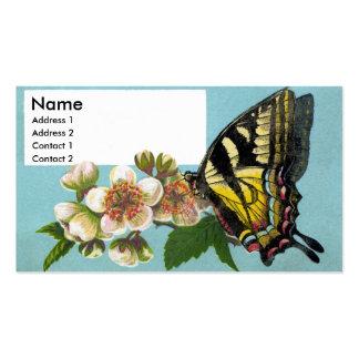 Mariposa y flores de Swallowtail Tarjetas De Visita