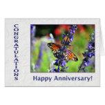 Mariposa y flores del aniversario del empleado tarjeton
