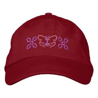 Mariposa y flores gorra de beisbol