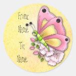Mariposa y flores lindas pegatinas