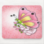 Mariposa y flores lindas tapetes de ratones