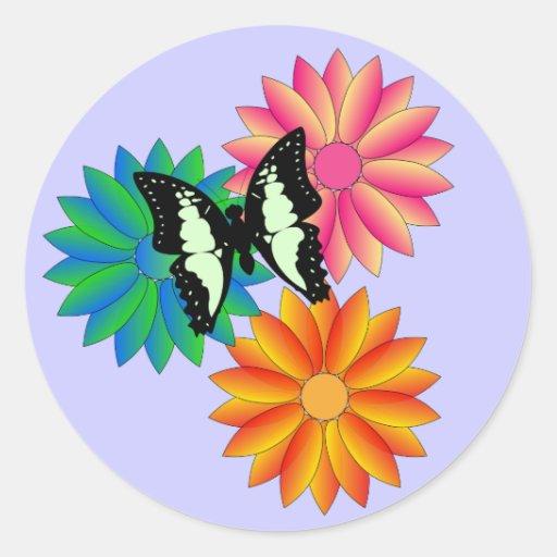 Mariposa y flores pegatinas