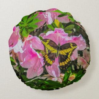 Mariposa y flores rosadas - almohadas redondas cojín redondo