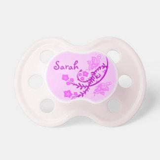 Mariposa y flores rosadas chupete de bebé