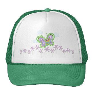 Mariposa y flores sonrientes gorras de camionero