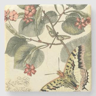 Mariposa y libélula con las flores rojas posavasos de piedra