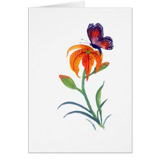 Mariposa y lirio tigrado de monarca felicitación