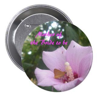 Mariposa y madre rosada de la flor de la novia pins