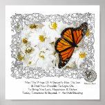 Mariposa y margaritas de monarca poster