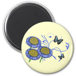 Mariposa y margaritas imán redondo 5 cm