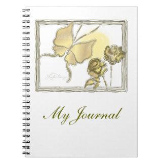Mariposa y oro elegantes de los rosas libros de apuntes