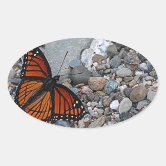Mariposa y piedras pegatina ovalada