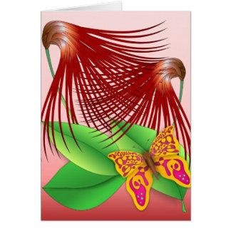 Mariposa y plantas tarjeta de felicitación