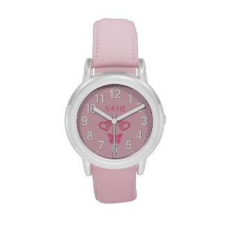 Mariposa y relojes personalizados corazones para l