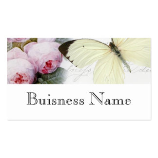 Mariposa y rosas tarjetas de visita