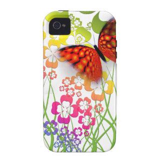 mariposa y tréboles coloridos frescos vibe iPhone 4 funda