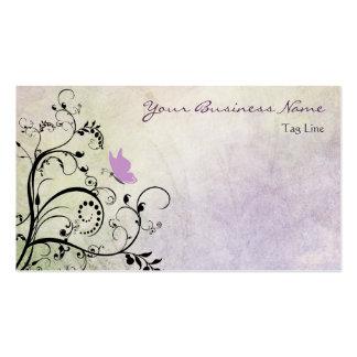 Mariposa y vides púrpuras bonitas de la silueta tarjetas de visita