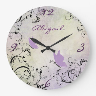 Mariposa y vides púrpuras bonitas personalizadas reloj redondo grande