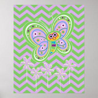 Mariposa y zigzags 16x20 de la primavera póster